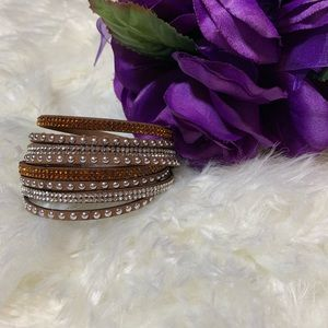 Jewelry - 2/$20 Brown Faux Leather Wrap Bracelet